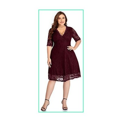 Women Lace V Neck Plus Size Cocktail Dress Knee Length Bridal Wedding Casual Party Red 16 Plus=16W並行輸入品