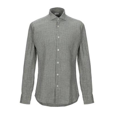 CALIBAN 820 チェック柄シャツ ファッション  メンズファッション  トップス  シャツ、カジュアルシャツ  長袖 ダークグリーン