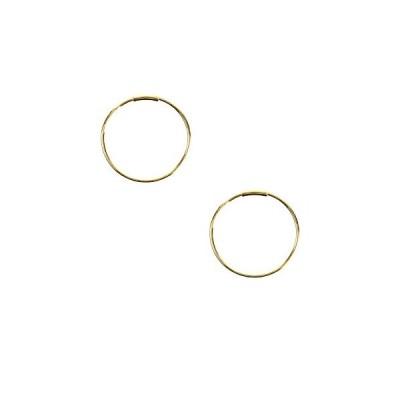 ジュエリーショップエム K18 パイプフープピアス シンプル レディース メンズ 金属アレルギー対応 両耳用 2個 1ペア 太さ1mm 直径
