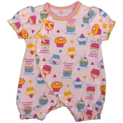 女の子 ベビー フィットオール 前開き 半袖 天竺素材 新生児 カップケーキ柄 半袖 肌着 下着 赤ちゃん PK-ピンク 50-60cm/60-70cm