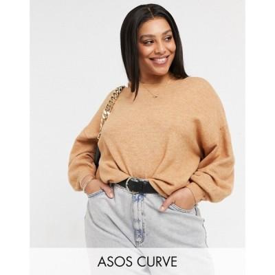 エイソス ASOS Curve レディース ニット・セーター トップス Curve oversized fine crew neck jumper in camel キャメル
