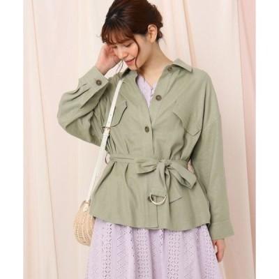 Couture Brooch / クチュールブローチ 【洗える】レーヨンリネン混CPOシャツジャケット