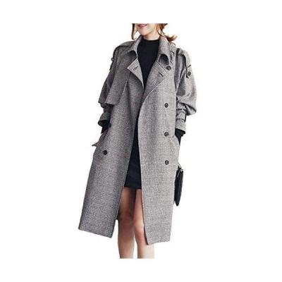 コート ロング レディース ジャケット チェック トレンチコート 秋冬 防寒 大きいサイズ