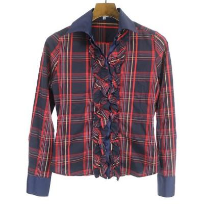 NARACAMICIE ナラカミーチェ ラッフルフリル装飾チェック柄コットンシャツ レッド×ネイビー 0 レディース