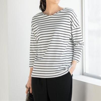 ゆるシルエットボーダーTシャツ(8分袖)(綿100%・洗濯機OK)/A(オフホワイト×ブラック)/LL