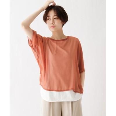 tricot tricot 楊柳シフォン重ね着風Tシャツ