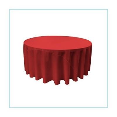 """新品LA Linen Polyester Poplin Round Tablecloth, 108-Inch, Red, 108"""""""