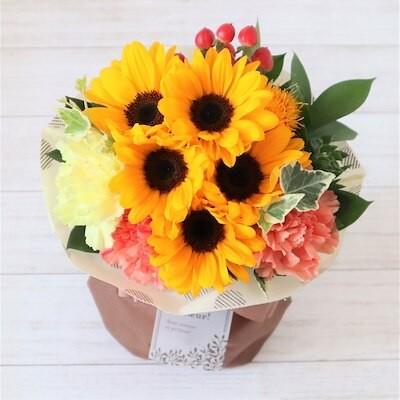 生花 季節の花 ひまわりのスタンディングブーケ 花瓶いらずでそのまま飾れる花束 FKAA