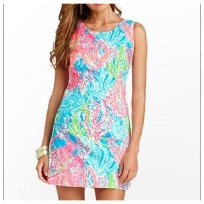 ワンピース リリーピュリッツァー Lilly Pulitzer Delia Dress Turquoise Lets Cha Cha HOLY GRAIL Pink 4 PRISTINE