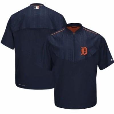 Majestic マジェスティック スポーツ用品  Majestic Detroit Tigers Navy On-Field Training Short Sleeve Half-Zip Jacke