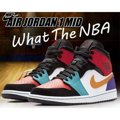 ナイキ エアジョーダン 1 ミッド NIKE AIR JORDAN 1 MID WHAT THE NBA white/university red-black スニーカー AJ1 MID