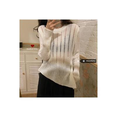 【送料無料】秋 スタイル 女 韓国風 ルース 何でも似合う 不規則なセーター 単一色 | 346770_A63582-4428961