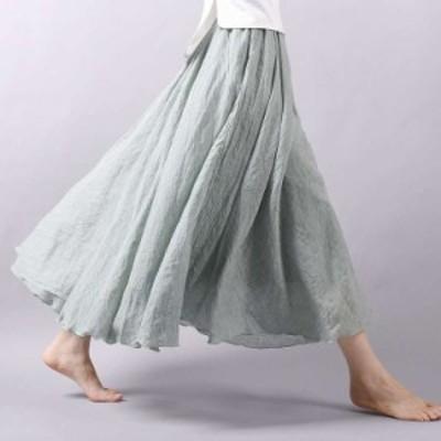 ロングスカート マキシスカート ロング丈 マキシ丈 柔らか生地 フレアスカート 無地 ふんわり ゆったり 柔らか 体型カバー メロウ裾 オト