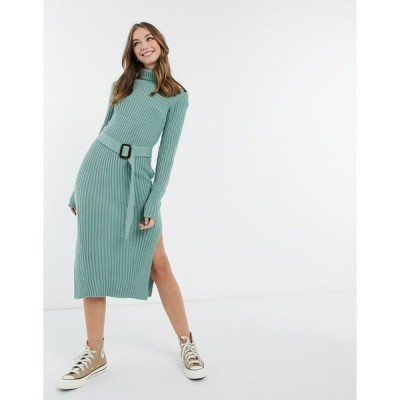 インザスタイル レディース ワンピース トップス In The Style x Billie Faiers roll neck knitted dress with belt in sage Sage
