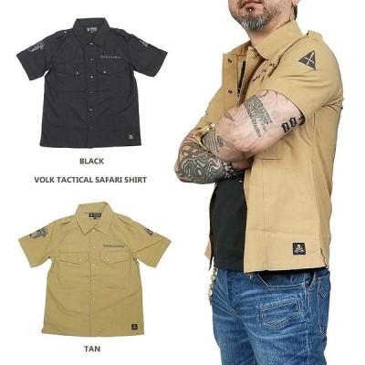 シャツ 半袖 ボタン サファリ メンズ レディース ブラック ブラウン VOLK TACTICAL SAFARI SHIRT