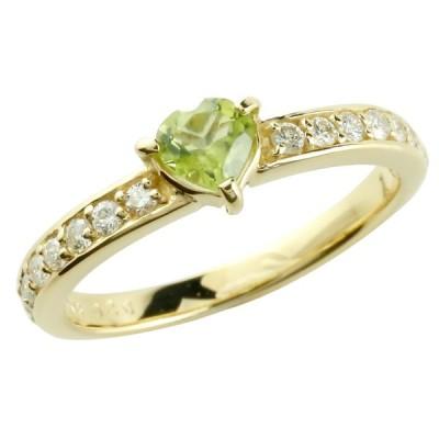 ピンキーリング ペリドット リング ダイヤモンド 8月誕生石 イエローゴールドk18 指輪 18金 ダイヤ ストレート 宝石 送料無料