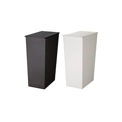 日本製ダストボックス kcud クード シンプル 2個セット スリム ワイド ゴミ箱 ごみ箱 (スリム ブラック×スリム ホワイト)