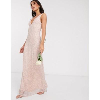 ビュート ミディドレス レディース Beauut embellished sleek maxi dress in blush エイソス ASOS