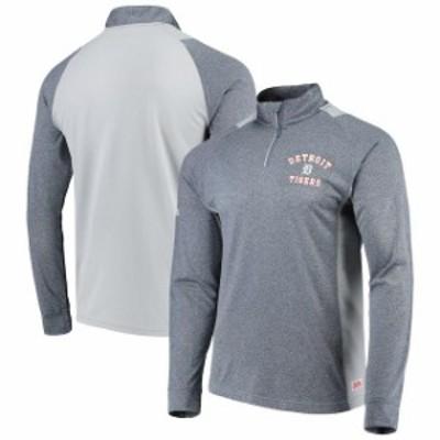 Stitches スティッチ スポーツ用品  Stitches Detroit Tigers Heathered Navy/Gray Raglan Sleeve Quarter-Zip Pullover Jacket