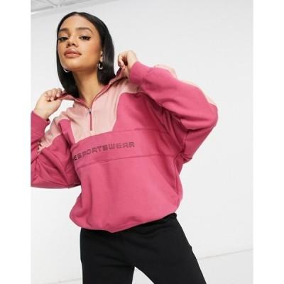 ナイキ レディース パーカー・スウェット アウター Nike Street quarter-zip fleece mix hoodie in pink