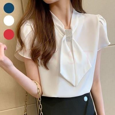 ブラウスレディースきれいめ40代オフィス白シャツおしゃれトップス夏フォーマル上品韓国風大人30代50代