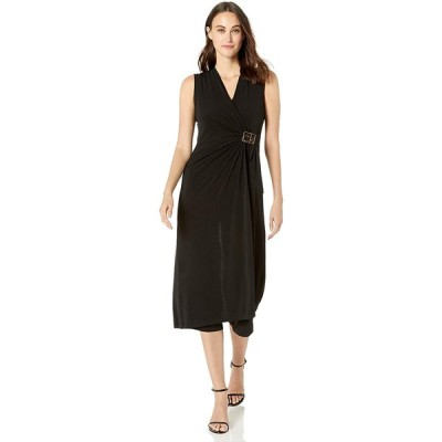 Calvin Klein Womenand#39;s Sleeveless V Neck Jumpsuit with Front Drape Dres