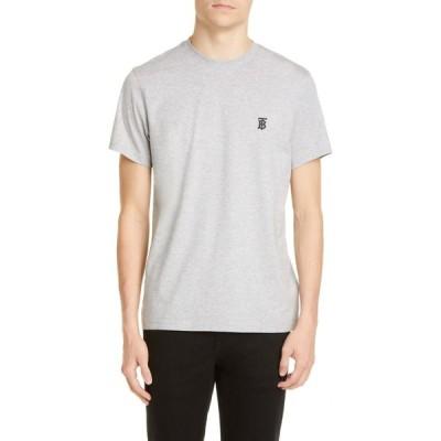 バーバリー BURBERRY メンズ Tシャツ トップス Parker Embroidered Logo T-Shirt Pale Grey Melange