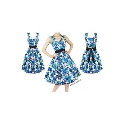 ハーツアンドローズロンドン ドレス ワンピース レディース レディース New ブルー グリーン フローラル 50s Vtg Rockabilly Swing パーティ Prom ドレス UK