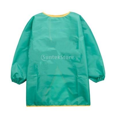 子供服 エプロン 防水 通気性 3サイズ6色選ぶ - 緑, S