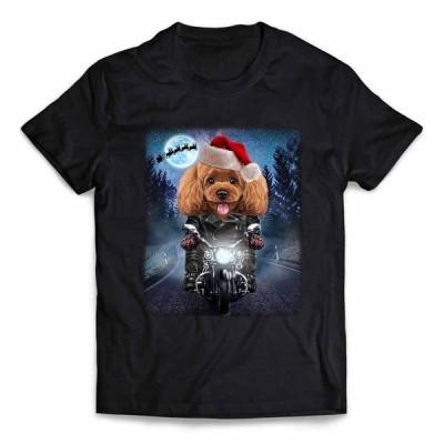 【遊ぶ プードル ドッグ 犬 いぬ バイク クリスマス サンタクロース】メンズ 半袖 Tシャツ by Fox Republic