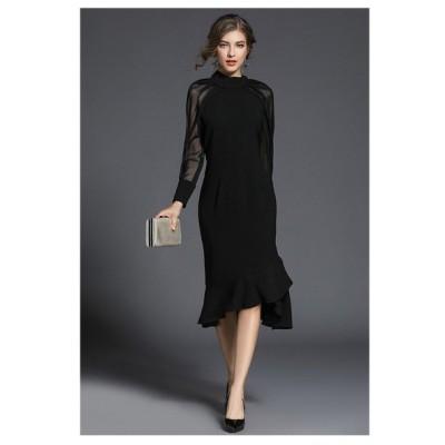 パーティー ドレス ワンピース ひざ丈 長袖 透け感 フリル フィッシュテール mme4647