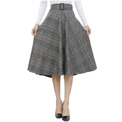 (ロンショップ)R.O.N shop グレン チェック 柄 ミモレ丈 スカート ベルト 付き Aライン フレア ニット 2タイプ (「オレン
