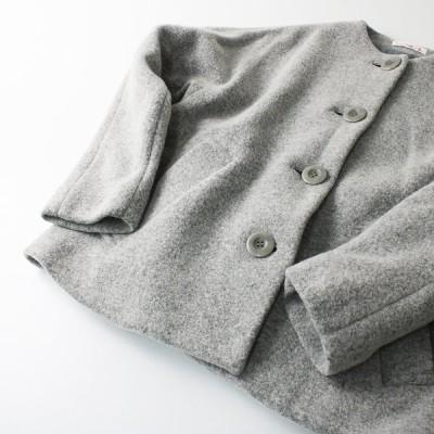 美品 hobonichi+a エードット ほぼ日 プレスウールノーカラージャケット S/ライトグレー ハオリ 羽織り 2400012263789