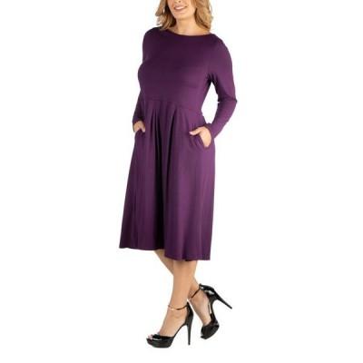 24セブンコンフォート レディース ワンピース トップス Midi Length Fit N Flare Pocket Plus Size Dress