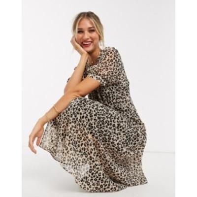 エイソス レディース ワンピース トップス ASOS DESIGN midi tea dress in leopard print Leopard print