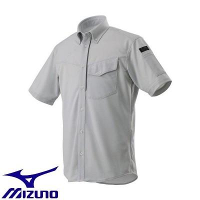 ◆◆送料無料 メール便発送 【返品・交換不可】 <ミズノ> MIZUNO ニットワークシャツ半袖[メンズ] F2JC8590 (04:ベイパーシルバー) ワーキング用品