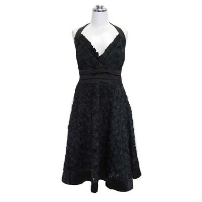 パーティードレス フォーマルドレス フラワーホルタ—ネックドレス ブラック 9号 n52