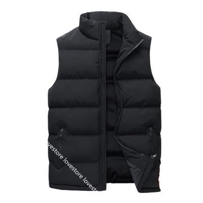 メンズ 中綿ベスト ダウンコットンベスト かっこいい 大きいサイズ ジッパーチョッキ 立ち襟 保温 防寒 軽量 暖かいベスト ジャケット