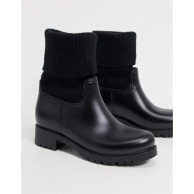 エイソス レディース ブーツ・レインブーツ シューズ ASOS DESIGN Gabrielle sock wellies in black Black