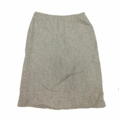 【中古】マックスマーラ MAX MARA 白タグ セミタイトスカート シルク リネン ブレンド ひざ丈 ハーフ丈 42 アイボリー