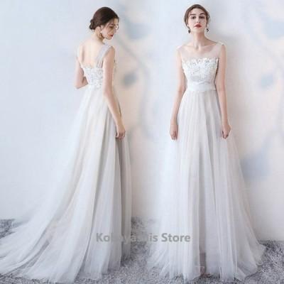 パーティードレス白ホワイトウエディングドレス結婚式二次会花嫁Aラインロングドレスチュールノースリーブ演奏会発表会成人式