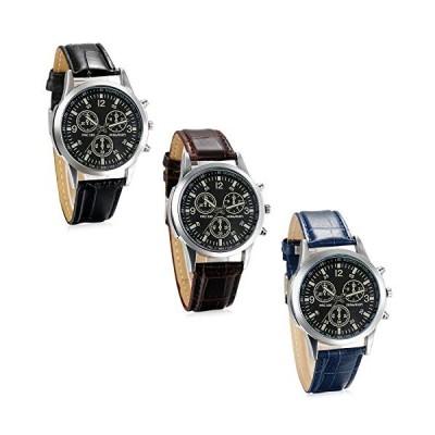 【並行輸入品】JewelryWe Business Casual Men's Quartz Wrist Watch Dial Leather Strap Watches - 3 Colors