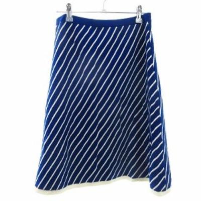 【中古】未使用品 ダブルクローゼット w closet スカート フレア ひざ丈 ニット 総柄 F 青 ブルー /M2 レディース