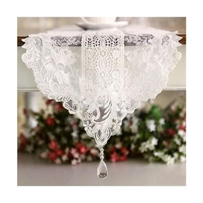 DOCOLA Lace Table Runner European Wedding Decoration Crystal Pendant Classical Coffee Table Cover Banquet White