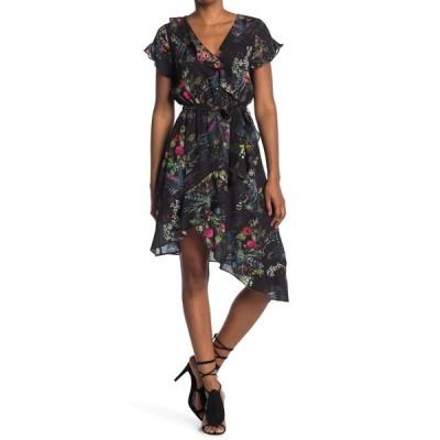 パーカー レディース ワンピース トップス Asymmetrical Wrap Midi Dress BLACK ALEX