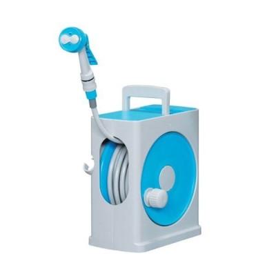 アイリスオーヤマ ホース リール フルカバーホースリールスリム 20M ライトブルー×グレー 水やり 洗車 掃除 コ