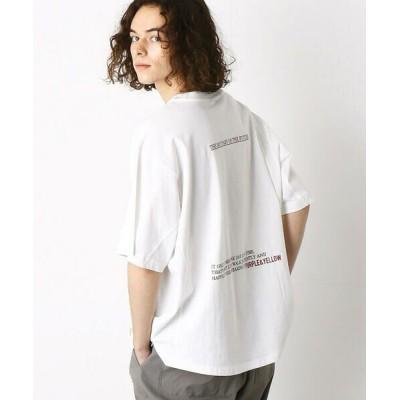 Purple&Yellow/パープルアンドイエロー 切替 ビッグシルエットTシャツ ホワイト M
