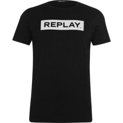 リプレイ Replay メンズ Tシャツ ロゴTシャツ トップス Logo T Shirt Black