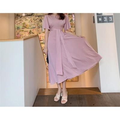 [55555SHOP]☆INSで人気の女性 ファッション☆新品 エレガント ピンク 半袖 ニットワンビース sweet おしゃれ  人気  腰止めひも スリム ドレス