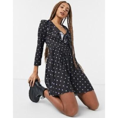 エイソス レディース ワンピース トップス ASOS DESIGN long sleeve pleated mini wrap dress in black and purple spot Black/purple sp